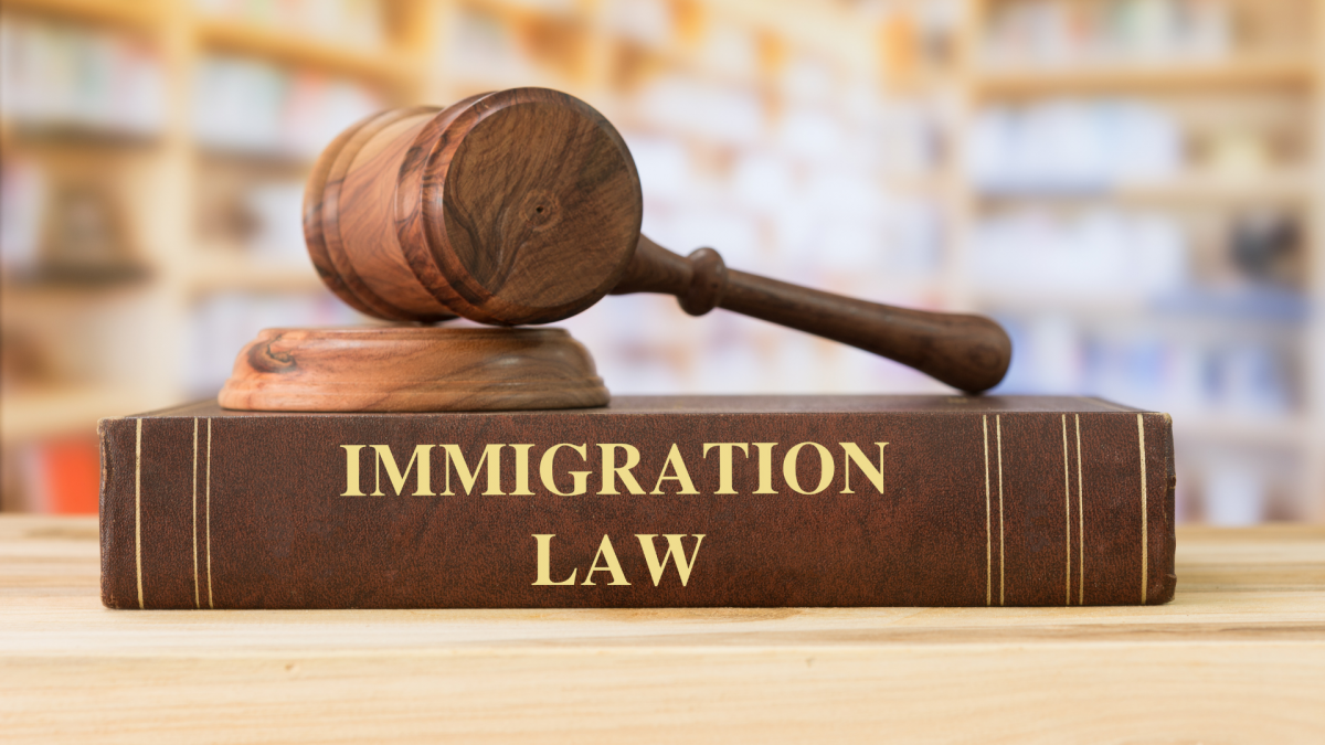 Judge's gavel sitting atop Immigration Law book