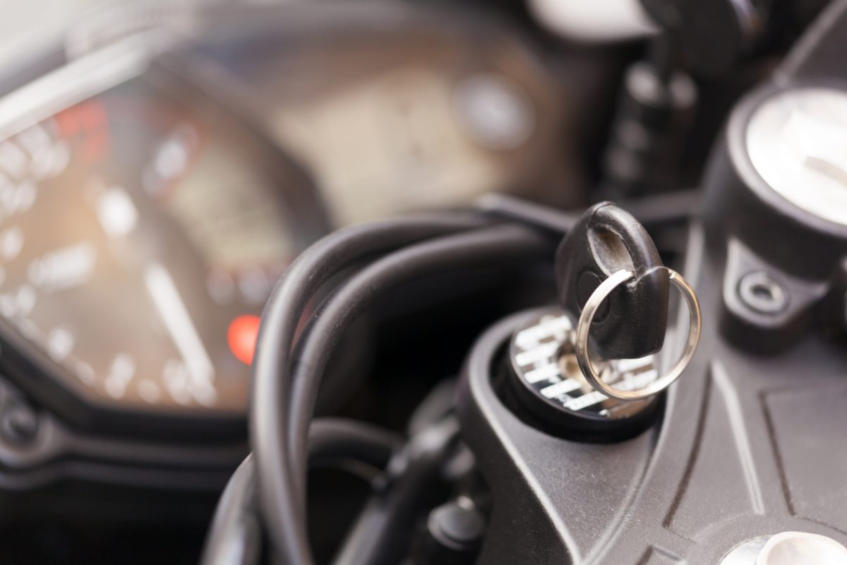 Close-up of ignition key in motorcycle